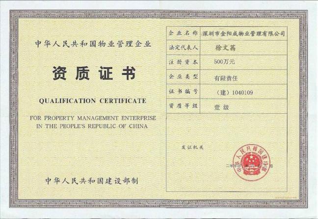国家一级物业管理资质证书